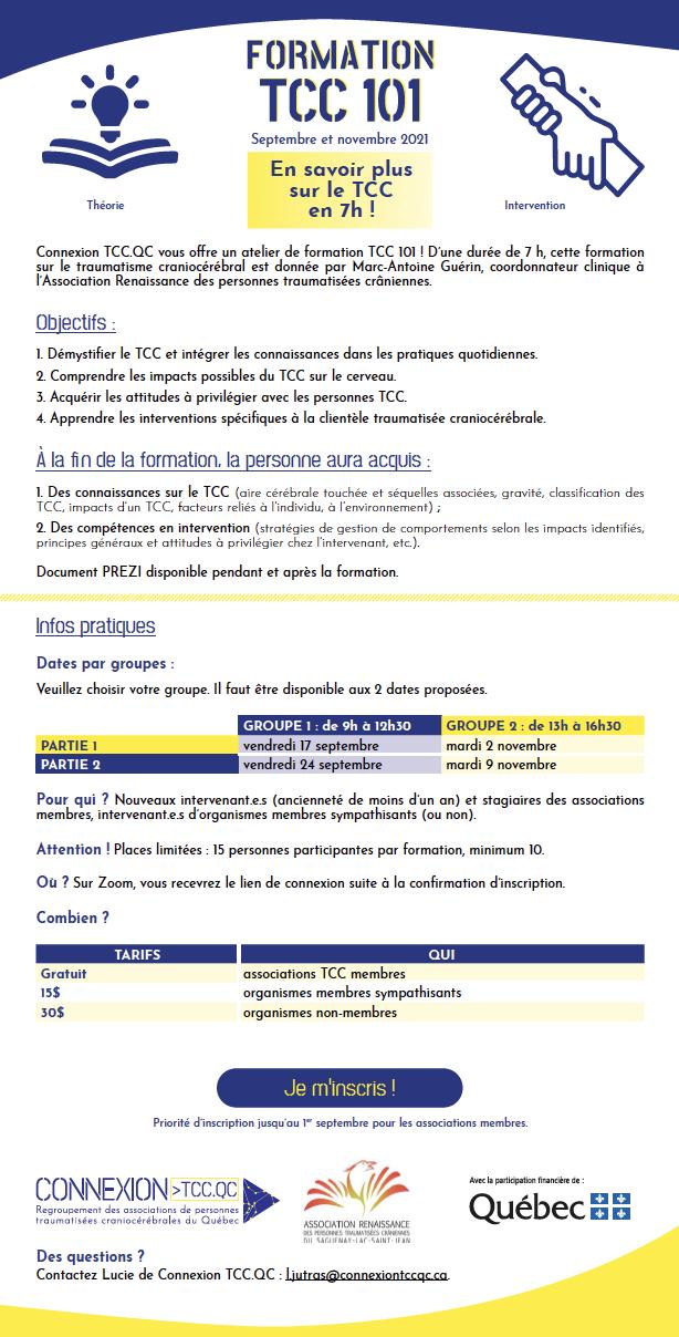 Capture d'écran du formulaire d'inscription à la Formation TCC 101 : se référer au pdf pour en savoir plus.