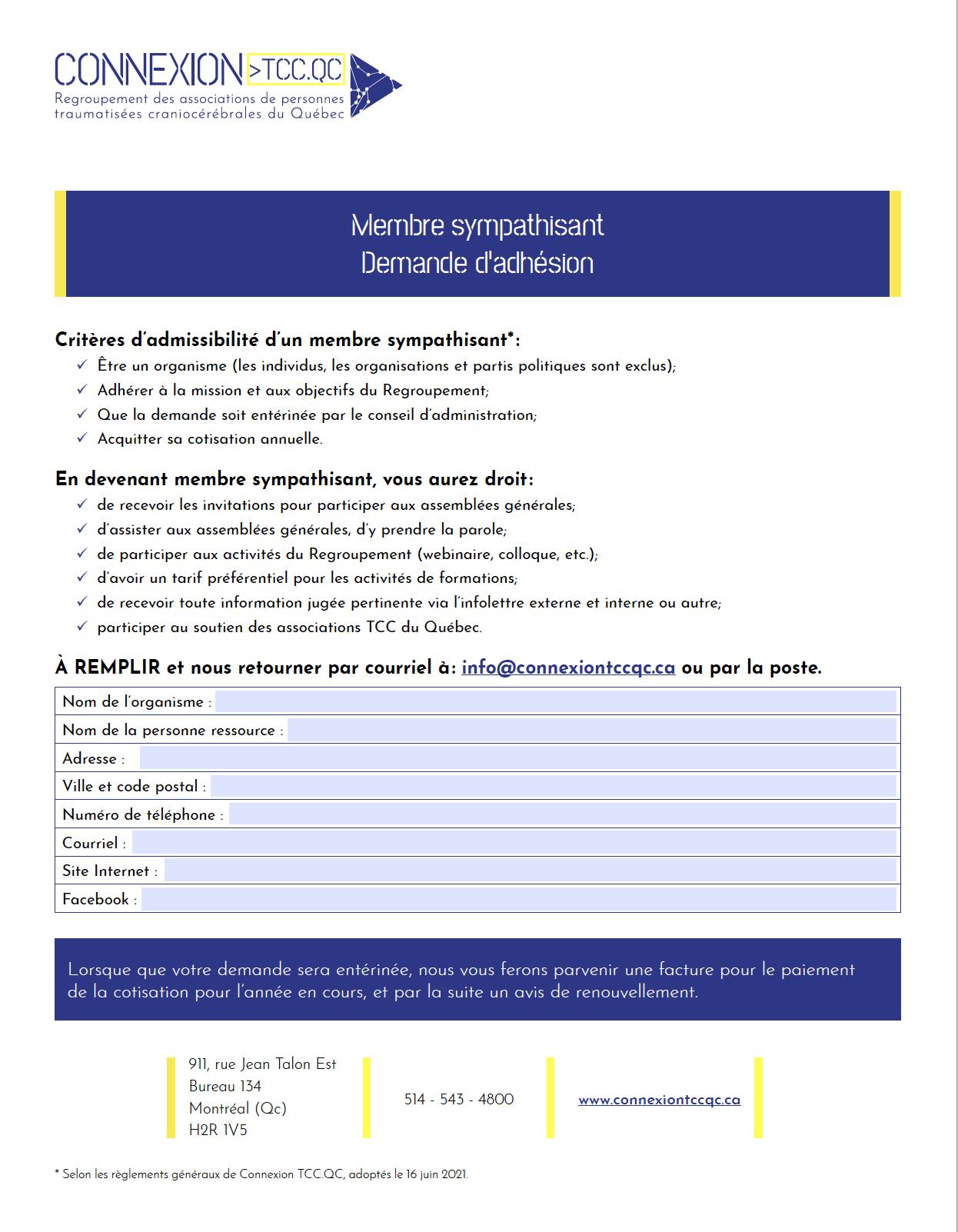 Aperçu du formulaire d'adhésion pour devenir membre sympathisant. Se référer au fichier pdf.