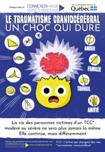 Affiche de la campagne de sensibilisation 2020 : le traumatisme craniocérébral, un choc qui dure. La vie des victimes d'un TCC modéré ou sévère ne sera plus jamais la même. Elle continue, mais différemment.
