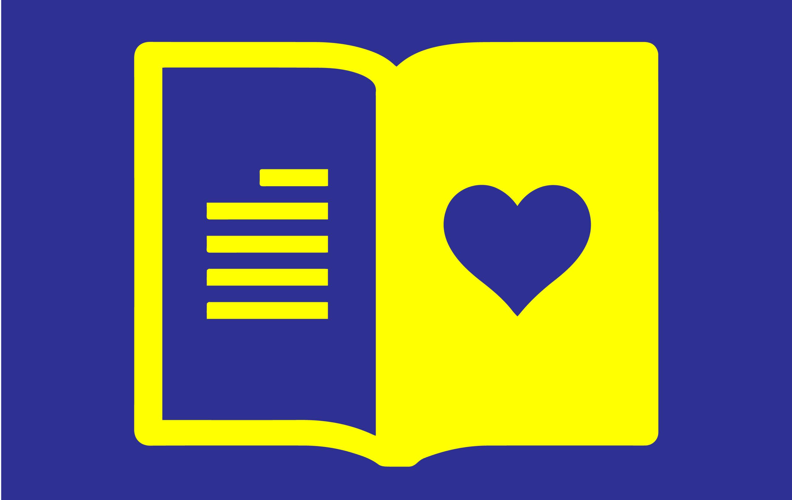 Image d'un livre ouvert avec un coeur l'intérieur