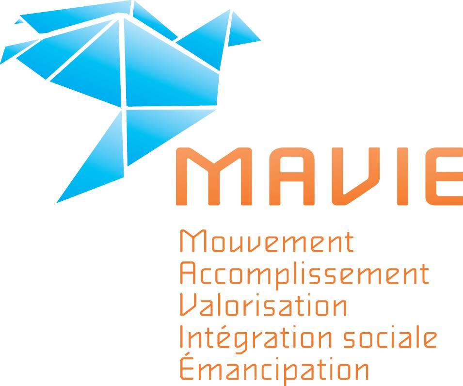 Logo Mavie : mouvement, accomplissement, valorisation, intégration sociale, émancipation