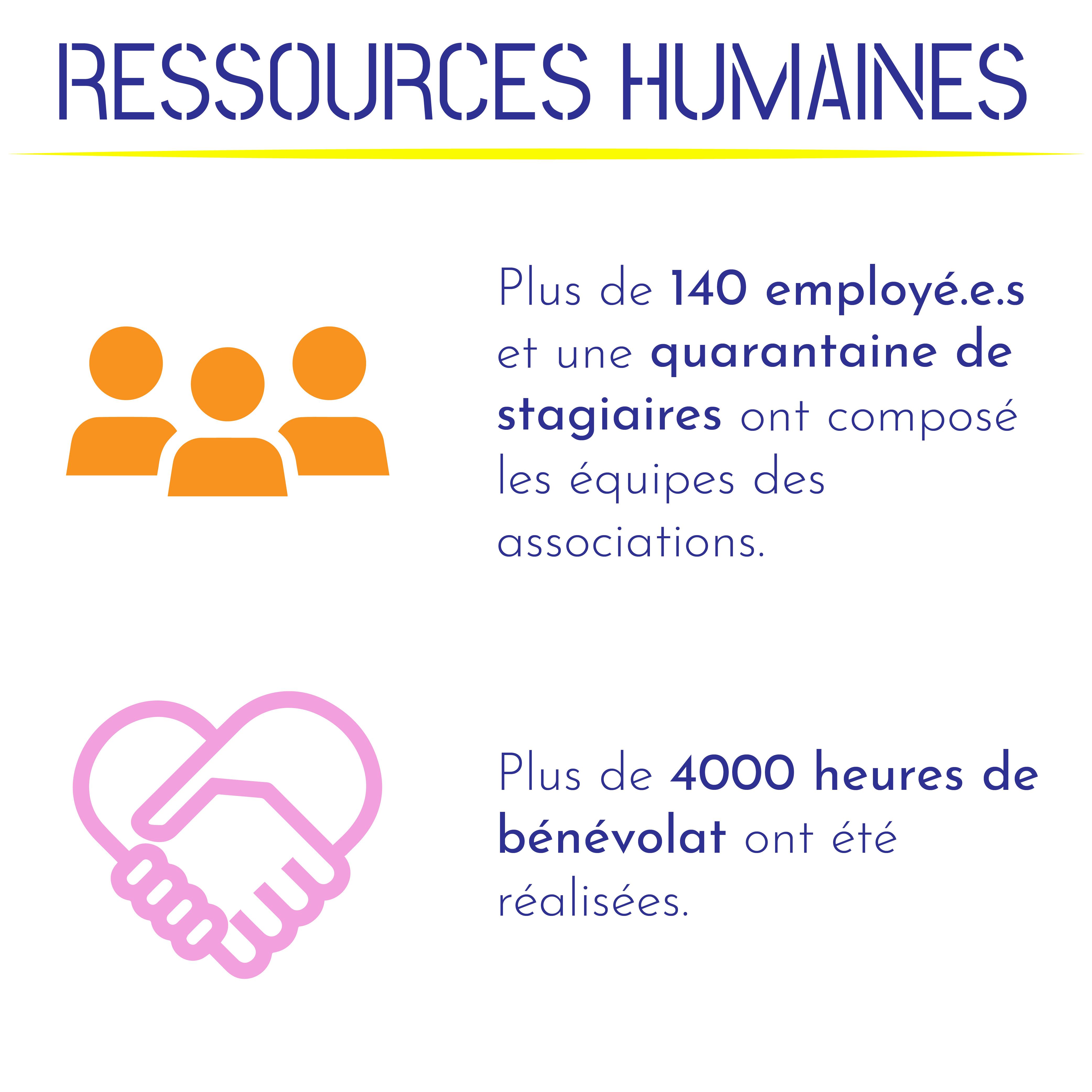 Plus de 140 employé.e.s et une quarantaine de stagiaires ont composé les équipes des associations. Plus de 4000 heures de bénévolat ont été réalisées.